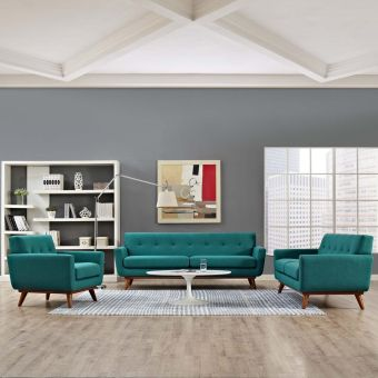 Engage Sofa Loveseat and Armchair Set of 3 (Teal)