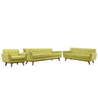 Engage Sofa Loveseat and Armchair Set of 3 (Wheatgrass)