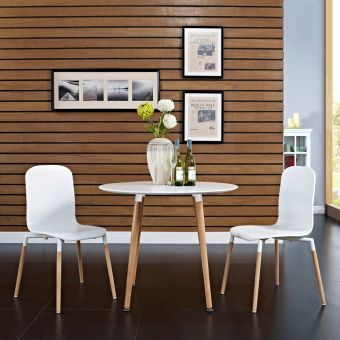 Stack Dining Chairs Wood Set of 2 (White)