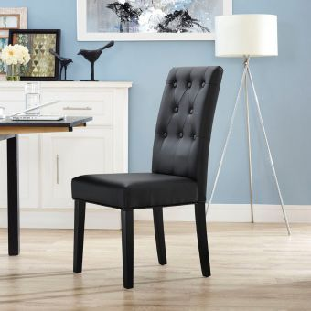 Confer Dining Vinyl Side Chair (Black)