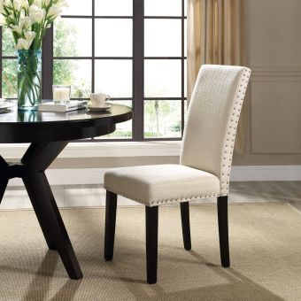 Parcel Dining Fabric Side Chair (Beige)