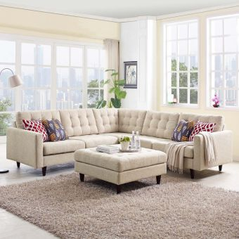 Empress 3 Piece Upholstered Fabric Sectional Sofa Set (Beige)