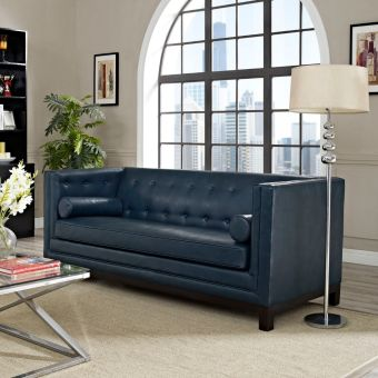 Imperial Bonded Leather Sofa (Blue)