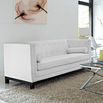 Imperial Bonded Leather Sofa (White)