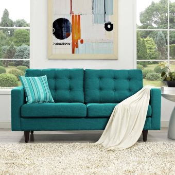 Empress Upholstered Fabric Loveseat (Teal)