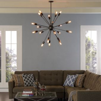 Beam Stainless Steel Chandelier (Gray)