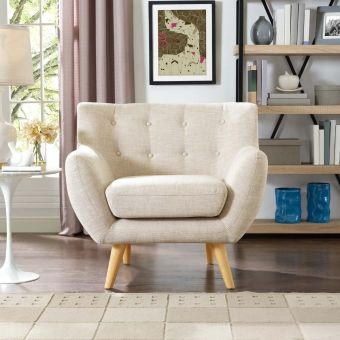 Remark Upholstered Fabric Armchair (Beige)