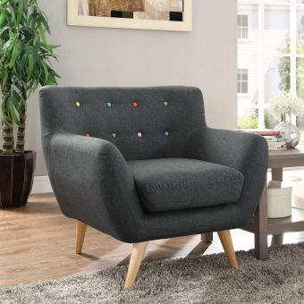 Remark Upholstered Fabric Armchair (Gray)
