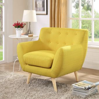 Remark Upholstered Fabric Armchair (Sunny)