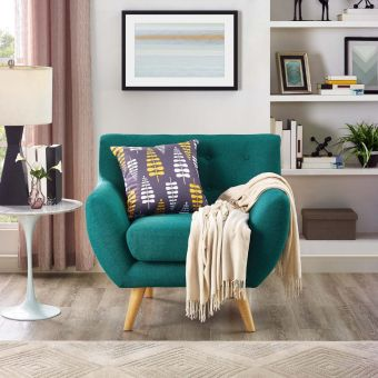 Remark Upholstered Fabric Armchair (Teal)