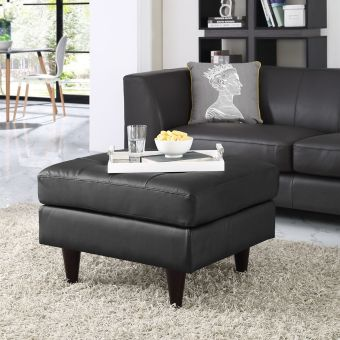 Empress Bonded Leather Ottoman (Black)