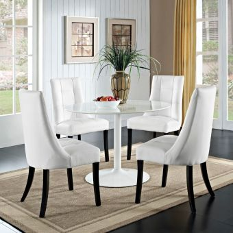 Noblesse Vinyl Dining Chair Set of 4 (White)
