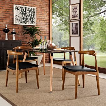 Tracy Dining Chairs Wood Set of 4 (Black)