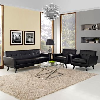 Engage 3 Piece Leather Living Room Set (Black)