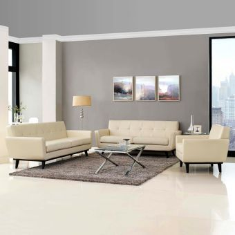 Engage 3 Piece Leather Living Room Set (Beige)