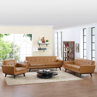 Engage 3 Piece Leather Living Room Set (Tan)