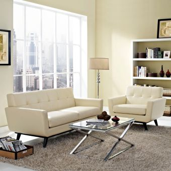 Engage 2 Piece Leather Living Room Set (Beige)