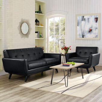 Engage 2 Piece Leather Living Room Set (Black)