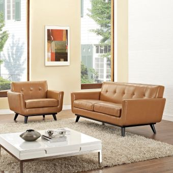 Engage 2 Piece Leather Living Room Set (Tan)