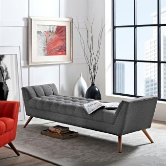 Response Upholstered Fabric Bench (Gray)