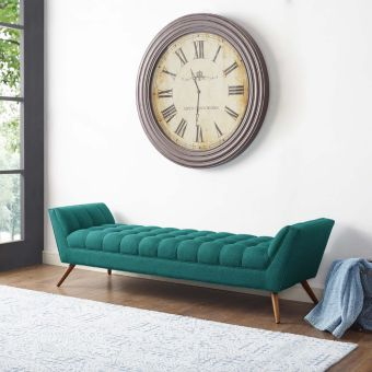Response Upholstered Fabric Bench (Teal)