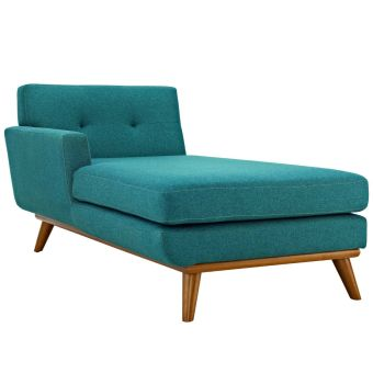 Engage Left-Facing Upholstered Fabric Chaise (Teal)