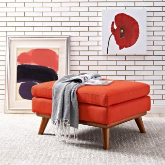 Engage Upholstered Fabric Ottoman (Atomic Red)