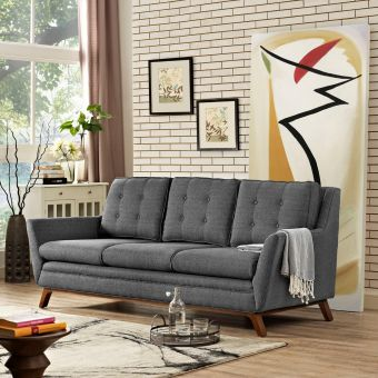 Beguile Upholstered Fabric Sofa (Gray)