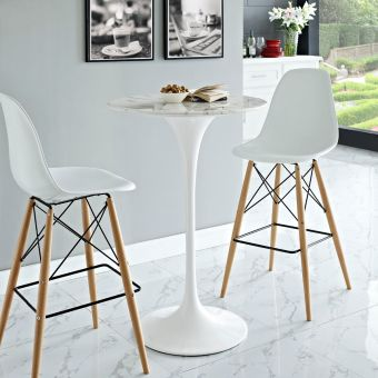 "Lippa 28"" Artificial Marble Bar Table (White)"