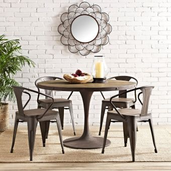 """Drive 48"""" Round Wood Top Dining Table (Brown)"""