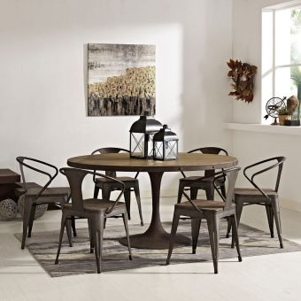 """Drive 60"""" Round Wood Top Dining Table (Brown)"""