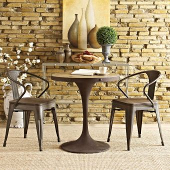 """Drive 28"""" Round Wood Top Dining Table (Brown)"""