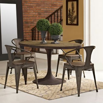 """Drive 60"""" Oval Wood Top Dining Table (Brown)"""