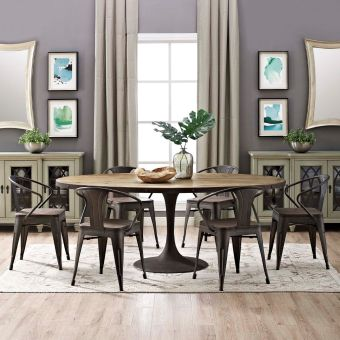 """Drive 78"""" Oval Wood Top Dining Table (Brown)"""
