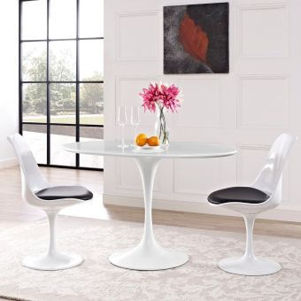 """Lippa 48"""" Oval Wood Top Dining Table (White)"""