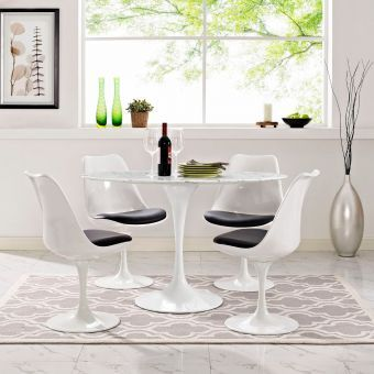 "Lippa 48"" Oval Artificial Marble Dining Table (White)"