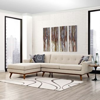 Engage Left-Facing Sectional Sofa (Beige)