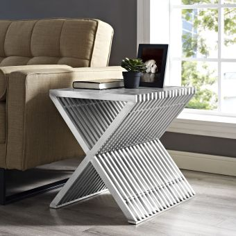 Press Stainless Steel Side Table (Silver)