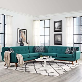 Engage L-Shaped Sectional Sofa (Teal)