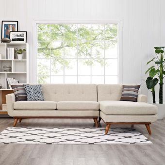 Engage Right-Facing Sectional Sofa (Beige)
