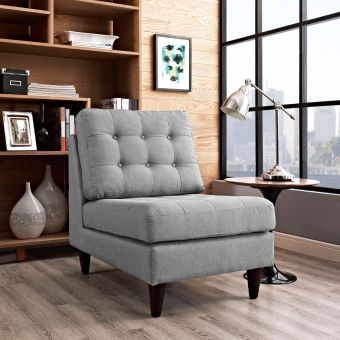 Empress Upholstered Fabric Lounge Chair (Light Gray)