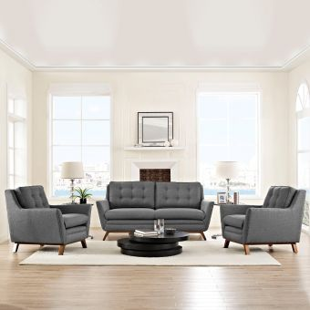 Beguile 3 Piece Upholstered Fabric Living Room Set (Gray)