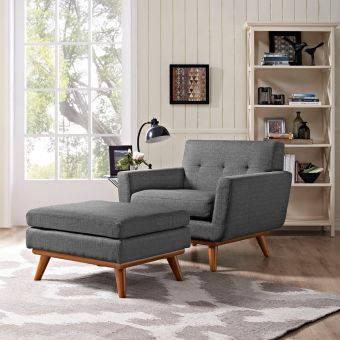 Engage 2 Piece Armchair and Ottoman (Gray)