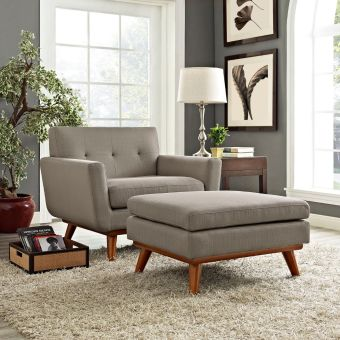 Engage 2 Piece Armchair and Ottoman (Granite)