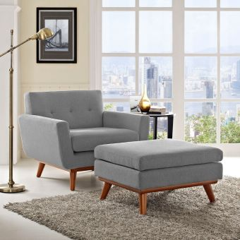 Engage 2 Piece Armchair and Ottoman (Expectation Gray)