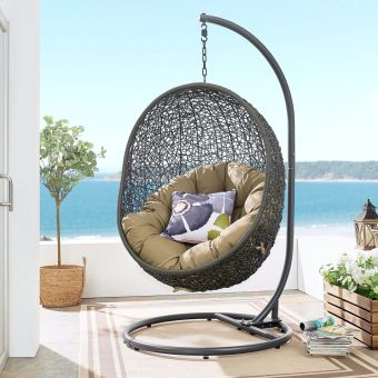 Hide Outdoor Patio Swing Chair With Stand in Gray Mocha