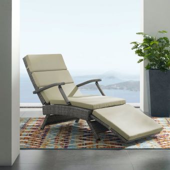Envisage Chaise Outdoor Patio Wicker Rattan Lounge Chair in Light Gray Beige