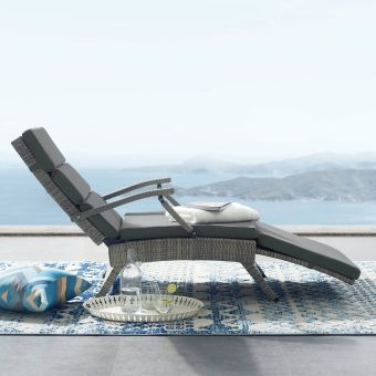 Envisage Chaise Outdoor Patio Wicker Rattan Lounge Chair in Light Gray Charcoal