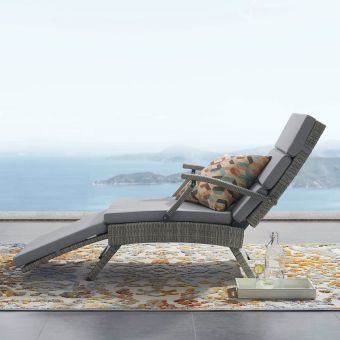 Envisage Chaise Outdoor Patio Wicker Rattan Lounge Chair in Light Gray Gray