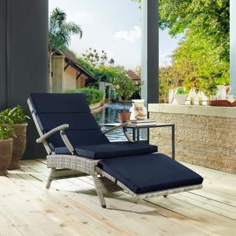 Envisage Chaise Outdoor Patio Wicker Rattan Lounge Chair in Light Gray Navy